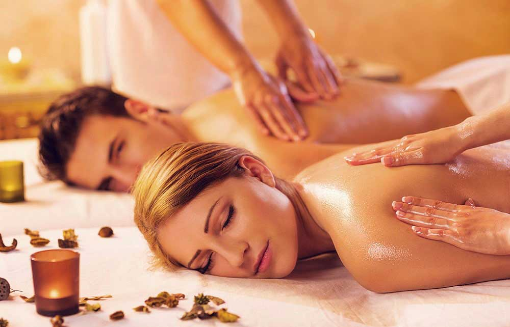 couple relaxing spa